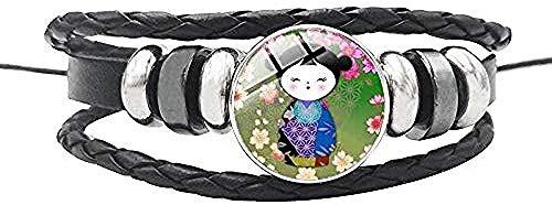 CCXXYANG Co.,ltd Collar Muñecas Lindas Pulseras De Cúpula De Vidrio De Cuero Cuerda Botón De Cadena Brazalete Ajustable para Niños Mujeres Hombres Joyería