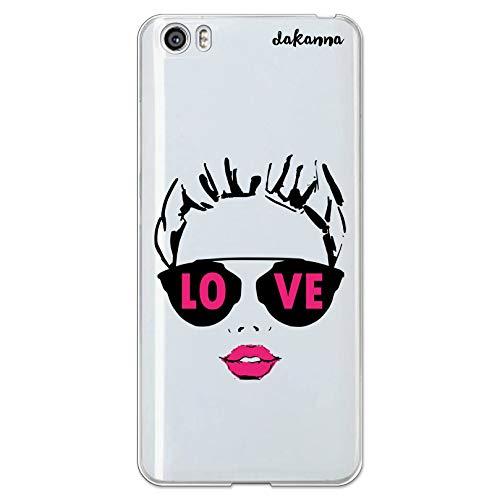 dakanna Funda Compatible con [Xiaomi Mi5 / Mi 5] de Silicona Flexible, Dibujo Diseño [Chica con Labios Rosas y Frase: Love], Color [Fondo Transparente] Carcasa Case Cover de Gel TPU para Smartphone