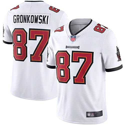 ILHF Gronkowski # 87 Outdoor Rugby Trikots, Spieltrikot, schnelltrocknendes Wettkampf-Jersey für Herren Gr. L, weiß