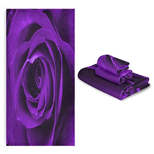 Blueangle Bathroom Decorative Towel Set with Purple Rose Pattern, 3-Piece Set with Bath Towel, Hand Towel & Washcloth