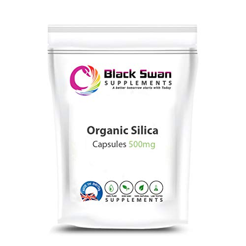 Black Swan Organic Silica Supplement—Healthy Hair and Skin—Anti-Inflammatory—Hormonal Balance—Immune System—Collagen Formation—500mg Capsule (120 caps)