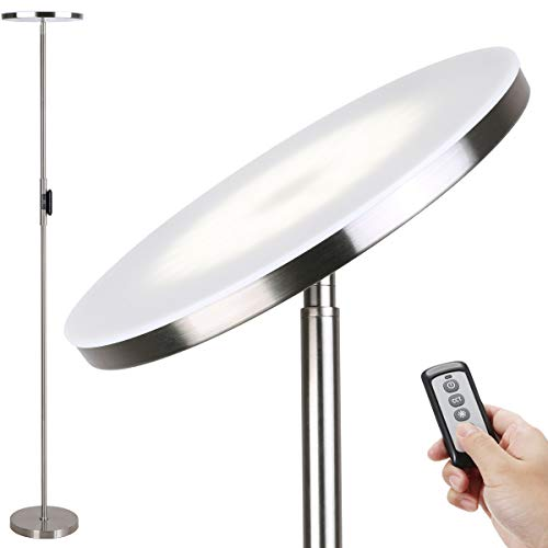 Floor Lamp,30W/2400Lumes Sky LED Modern Torchiere 3 Color Temperatures Super Bright Floor Lamps-Tall Standing Pole Light with Remote & Touch Control for Living Room,Bed Room,Office ,Brushed Nickel