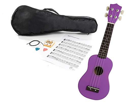 Navarra Ukelele con accesorios NV27PK púrpura con funda, silbato afinador, púas y cuerdas de repuesto con Lesson online (enseñanza online para músicos)