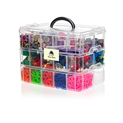 BBA Sunrise Snap Cube Stackable Arts & Crafts Case, 3-Tier Clear Stackable...