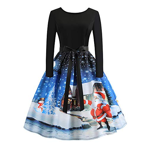 Damen Weihnachtskleider FGHYH Frauen Jahrgang Drucken Langarm Weihnachtsabend Party Schwingen Kleid(Blau, L)