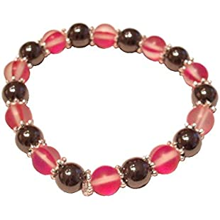 Colourful Magenta Moonstone Polaris & Black 8mm Magnetic Hematite Healing Stretch Bracelet