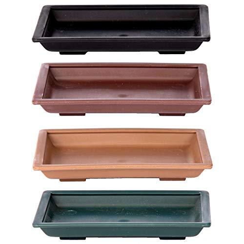 Bonsai - Untersetzer eckig ca. 11 x 8 cm versch. Farben Kunststoff 53052 Ausführung-Untersetzer hellbraun-11cm