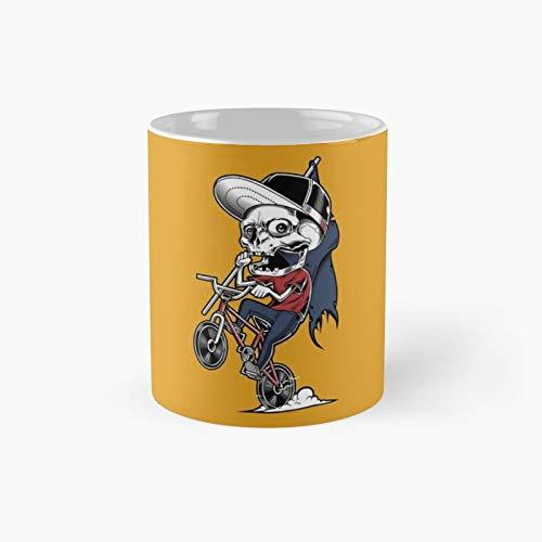 Skull Riding Bicycle Classic Mug | Best Gift Funny Coffee Mugs 11 Oz