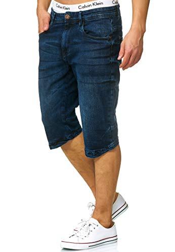 Indicode Herren Jaspar Jeans Shorts mit 5 Taschen aus 98% Baumwolle Knielang | Kurze Denim Stretch Sommer Hose Used Look Washed Regular Fit Men Short Pants Freizeithose f. Männer Medium Indigo L