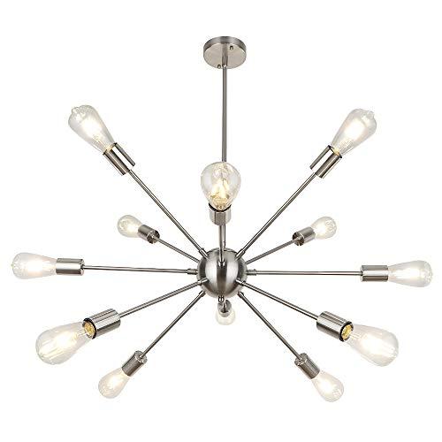 LynPon Moderno Sputnik Lámparas de araña, 8 Luces Iluminación colgante de techo, Níquel Fixture para la Cocina, Comedor, Dormitorio, Café, Bar