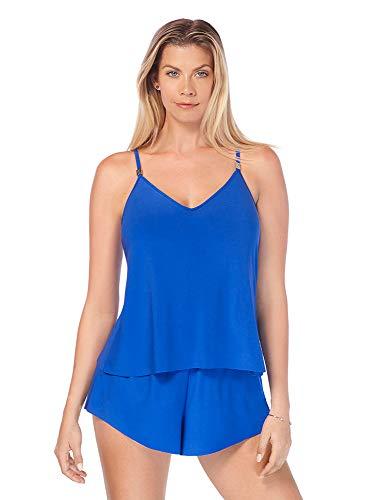 Magicsuit Women's Swimwear Solid Mila Soft Cup Romper Swimsuit with Adjustable Straps, Cobalt, 16