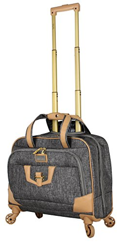 Nicole Miller New York Designer 17 Inch Carry On - Weekender Overnight Business Travel Luggage - Lightweight 4- Spinner Wheels Suitcase - Briefcase Rolling Bag for Women (Taylor Silver)