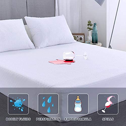 Full Size Mattress Protector Waterproof Matressprotector Full Bed Machine Washable White Noiseless product image