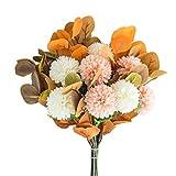 WSYW Flores artificiales para decoración de boda, decoración en el hogar, oficina, fiesta, arreglos florales, centros de mesa de centro, flor de hortensia, puesta del sol, color rojo