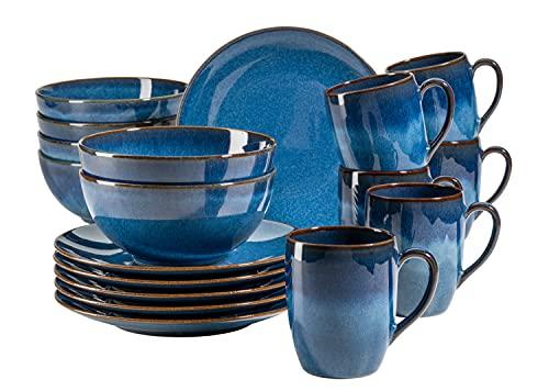 MÄSER 931945 Serie Ossia Vintage Frühstücksset aus Keramik für 6 Personen, 18-teiliges Geschirr Set mit Frühstücksteller, Kaffeebecher und Müslischalen, modern und mediterran, Königsblau, Steinzeug