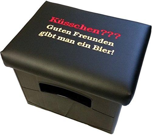 Design BierEx Bierkasten Sitz Bierkastensitz für Bierkiste Hocker schwarz Aufsatz Bierkiste für Stehtisch (Küsschen? ...Bier)