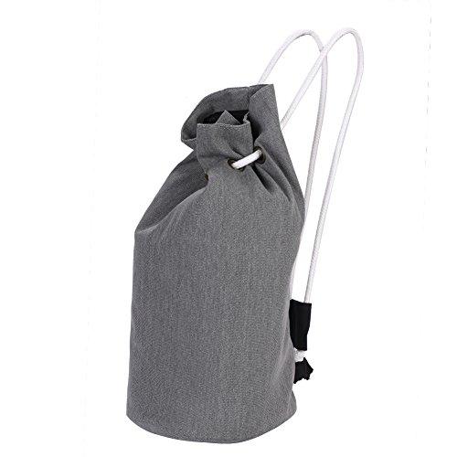 ボールバッグ バスケットボールバッグ ナップサック 巾着式 リュック サック メンズ レディース デイパック おしゃれ バケツ カバン 丈夫 カジュアル ソフト 帆布鞄 肩掛け ショルダーバッグ アウトドア スポーツ 通勤 通学 携帯やすい 可愛い グレー