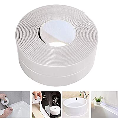 Caulk Strip LIKEGOR Flexible Self Adhesive Sealing Tape Waterproof for Kitchen Bathroom Tub Shower Floor Wall Seam (White, 126x1.5 Inches)