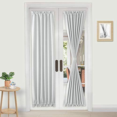 DWCN French Door Curtains – Rod Pocket Thermal Blackout Curtain for Doors with Glass Window, Kitchen and Patio Doors for Privacy, 25 X 72 Inches Long, 1 Curtain Panel with Tieback, Greyish White
