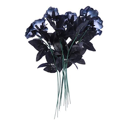 VOSAREA Ramos de Rosas Artificiales de Flores Negras para la decoración del jardín del hogar del Banquete de Boda de Halloween