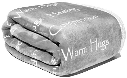 Compassion Blanket - Strength Courage Super Soft Warm Hugs, Get Well Gift Blanket Plush Healing Thoughts Positive Energy Love & Hope with Fluffy Comfort (50 x 65 Silver Gray)