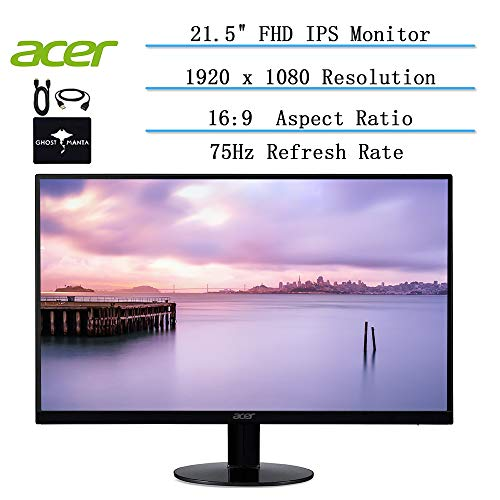 2020 Acer 21.5-inch Full HD Ultra-Thin Zero Frame Monitor for Business and Student, 16: 9 Aspect Ratio, 75 Hz, IPS, 4ms Response Time, 16. 7 Million Colors, HDMI VGA Port w/Ghost Manta Accessories