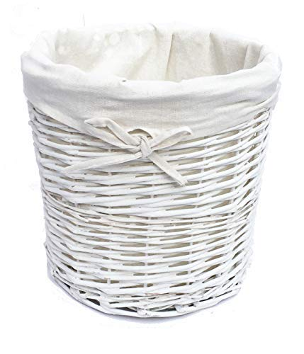 topfurnishing Shabby Chic White Oval Wicker Laundry Basket With Lid & Removable Cotton Lining (White Bin without Lid)