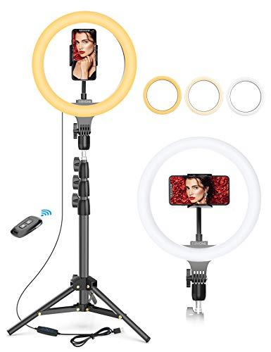 Tryone Aro de Luz Trípode - Anillo de Luz LED de 10.2' / Soporte de Luz de 1,3 m, Luz de Anillo 6000K, Control Remoto, 3 Modos de Luz y 10 Niveles de Brillo, para Tiktok, Maquillaje, Selfie, Blog, etc
