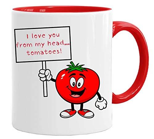 Taza de San Valentín divertida con texto en inglés 'I Love Your from My Head Tomatoes' de calidad premium y caja de regalo