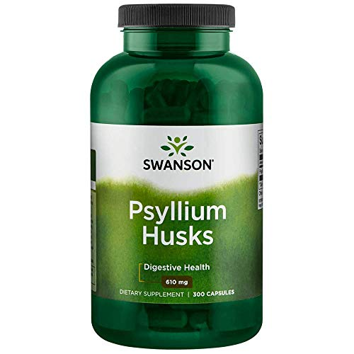 Swanson Psyllium Husk Digestive Weight Colon Health Dietary Fiber Supplement 610 mg 300 Capsules (Caps)