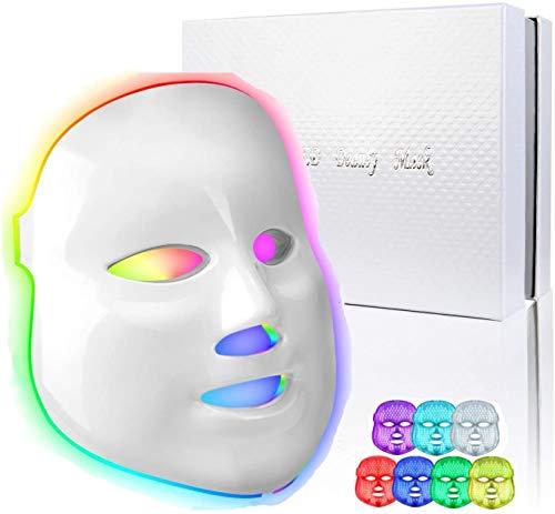 obqo Mascara Luz LED Facial Profesional 7 Colores Azul Roja Fotón Terapia de luz Rejuvenecimiento de piel para la de arrugas de acné Anti Tratamiento Facial para el cuidado de la piel