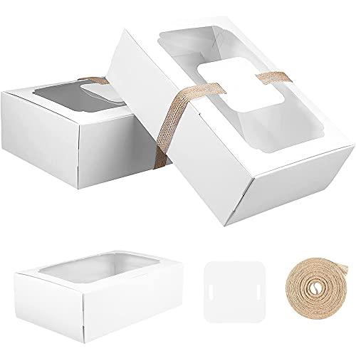 Cajas Regalo Galletas, 12 Piezas Caja Tartas con Ventana, Cajas Galletas con Ventana, Caja Galletas Papel Blanco, para Fiestas en Casa, Celebraciones de Cumpleaños y Picnic, Blanco