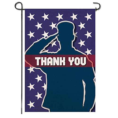Shmbada Thank You Burlap Garden Flag Double Sided Vertical Patriotic Yard Lawn Outdoor Decorative for Memorial Day, Fourth of July, Veterans Day, 12.5x18.5 Inch