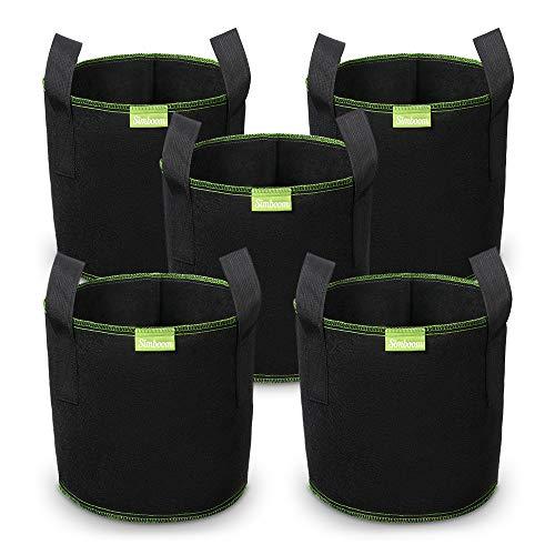 SIMBOOM Bolsas para Plantas 12L (5 Piezas), Bolsa de Cultivo No Tejidos, Saco para Plantas de geotextil Respirable para Flores y Verduras, Negro - 25.5cm x 24.5cm