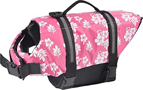 ChezAbbey Dog Life Jacket Adjustable Dog Lifesaver Preserver Swimsuit Dog Life Vest for Swimming and Boating Pink Flower XS