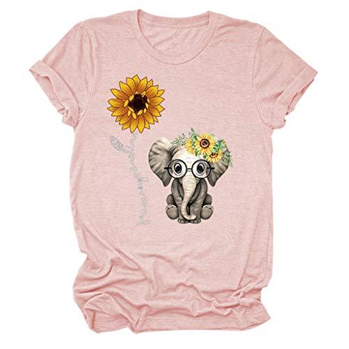 TAMALLU Übergröße Lose T-Shirt Tops für Damen Casual O-Ausschnitt Drucken Einfarbig Kurzarm Baggy Bluse T-Shirts(S,Rosa)