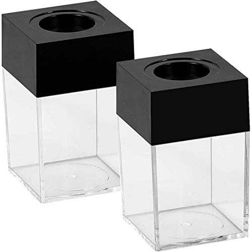Paper Clip Holders Small Clip Dispenser with Magnetic Top,Black,2Pack