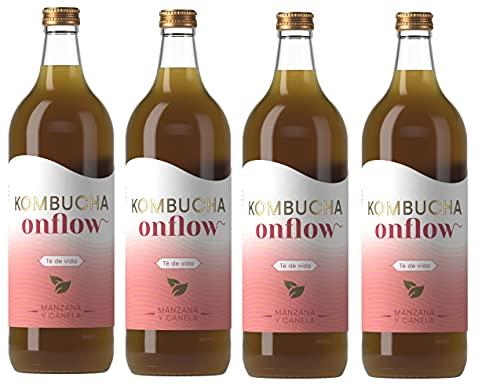 Onflow Té Kombucha en Base a SCOBY, Sabor a Manzana y Canela, Bebida Vegana, Ecológica y Orgánica, Elimina Toxinas, Elaborado en España, Pack 4 x 1 Litro