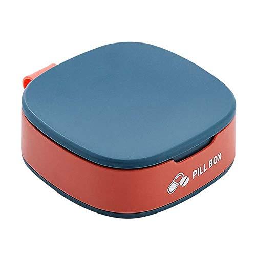 Lecez Caja pequeña de píldoras, Pastel Portable y Mini Cuarteto Mañana Tarde Y Tarde Grande Capacidad Creativa, Azul, Rosa, Blanco, 7.7x7.7x2.9cm (Color : Azul)