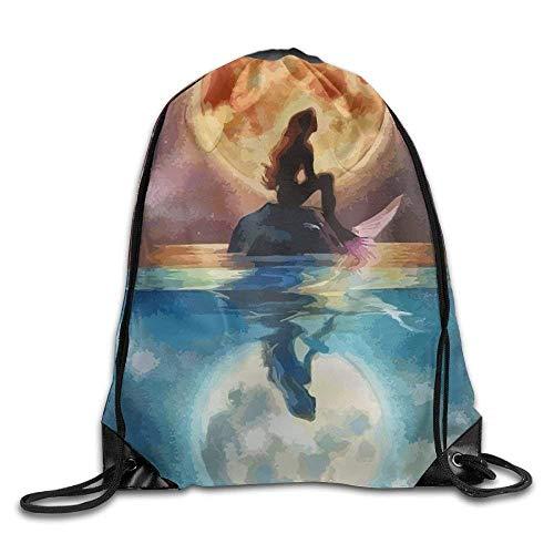 Lsjuee Mermaid Print Drawstring Backpack Rucksack Shoulder Bags Gym Bag Sport Bag