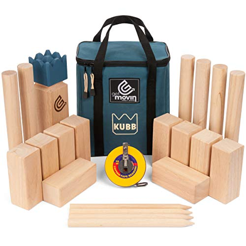 GetMovin' Sports Kubb Premium Rubberwood Set, Viking Chess Fun Outdoor Yard Game, Giant Board Game for The Beach, Lawn, or Party
