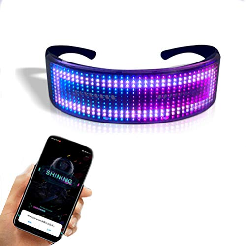 Customizable Full Color Shining Glasses, Programmable Bluetooth 4.0 RGB Fullcolor Glowing LED Glasses, USB Rechargeable Future Style LED Light Up Glasses