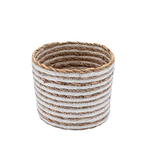 Aufbewahrungskörbchen Seegras & Baumwolle Rund - Natur - Handarbeit - Fair Trade (Ø 15cm)