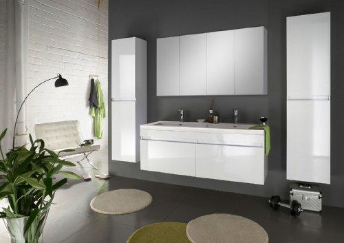 SAM® Design Badmöbel-Set, 140 cm, in weiß, 4tlg. Designer Badezimmer mit Softclose-Funktion, 1 Doppel-Waschplatz, 1 Spiegelschrank, 2 Hochschränke [520114]
