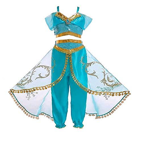 Discoball Disfraz de princesa de jazmn para nias, increble tour para nios, disfraz de Aladdin, disfraz de princesa y jazmn