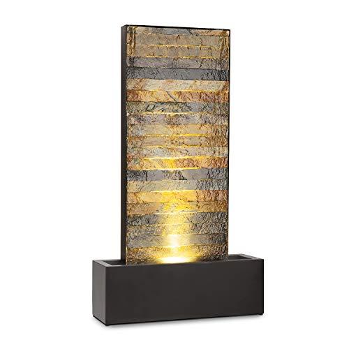blumfeldt Raincastle - Fontana Decorativa da Giardino e da Interni, Circolazione Continua Acqua con Loopflow Concept, 12 LED, Pompa da 8W, Protezione: IPX8, Metallo Galvanizzato, Ottica in Mattoni