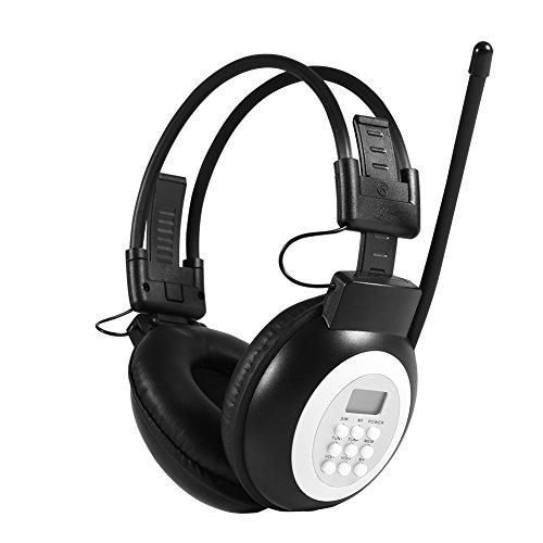 Garsent Draadloze en bekabelde FM-radio headset, opvouwbare overhead-hoofdtelefoon met FM-radio-ontvanger, ruisonderdrukkende LCD-digitale AM/FM-radio-oorbeschermer