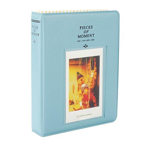 Fetoo 64 Taschen Mini Album Schutzhülle Foto Album Fotohüllen für Mini Fujifilm Instax Miini Film 7S/8/25/50/90, 14 * 11cm (Blau)