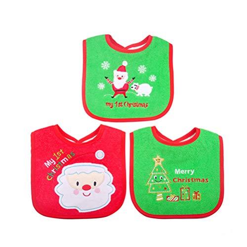 Toyvian 1pezzo Bavaglino di Natale Impermeabili Regalo di Natale Accessori per Neonati e Bambini Piccoli(Casuale Colore / Stile)