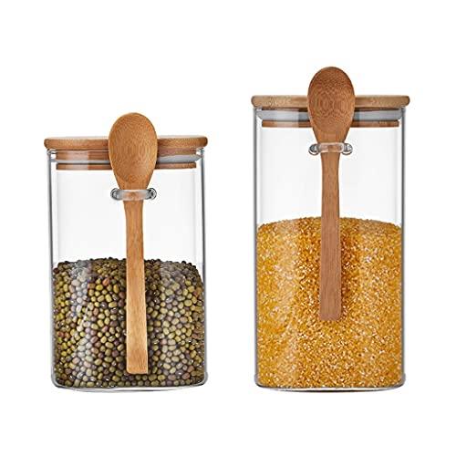 AAZZ tarros Tarro de Vidrio con Tapa y Cuchara Juego de contenedores de Almacenamiento de Cocina Cuadrado Claro de 2/3 for Especias, café, té Matcha Contenedor Alimentos (Color : M+L)